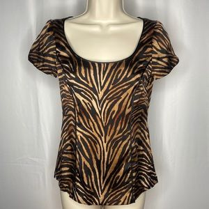 White House Black Market Animal Print Blouse